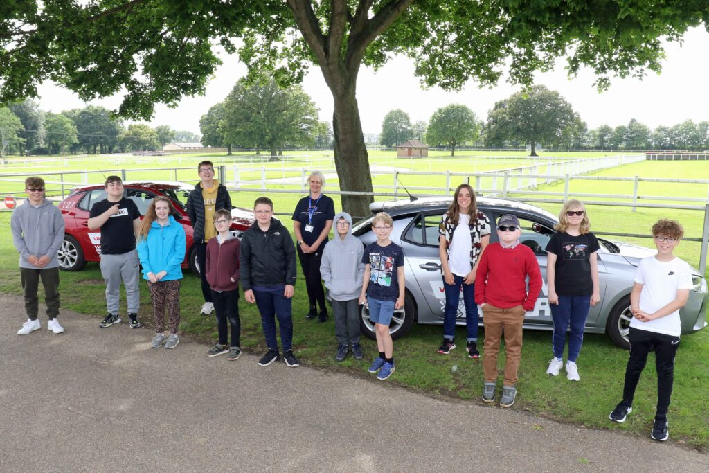 The 12 youngsters from Vision Norfolk who enjoyed the Young Driver experience